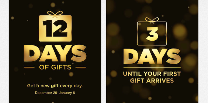 Be sure to download the new app from Apple called 12 Days of Gifts.