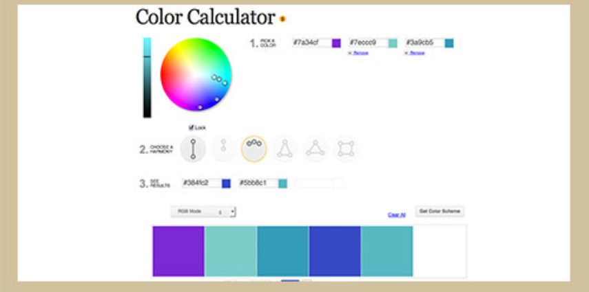 Select colors and identify color harmonies and schemes with this tool.